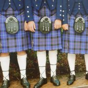 Kilts at traditional Scottish wedding